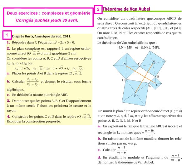 cm 2020-04-30 TS1 G2 deux exercices complexes et géométrie niveau bac